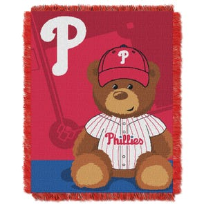 Philadelphia Phillies MLB Field Bear Woven Jacquard Baby Throw by Northwest Company
