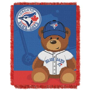 Toronto Blue Jays MLB Field Bear Woven Jacquard Baby Throw by Northwest Company