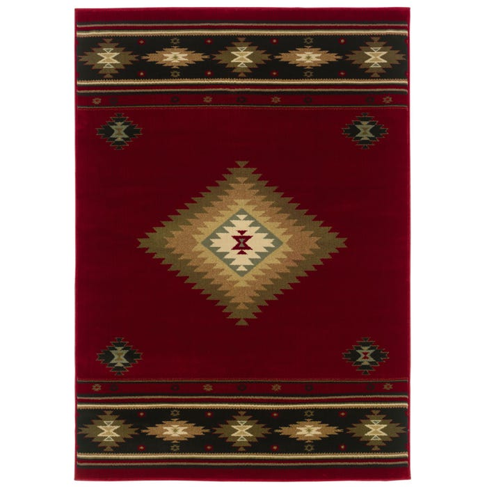 Oriental Weavers Hudson 087k Southwest Lodge Red And Green