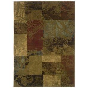 Oriental Weavers Genre 2184B Geometric Gold and Green Area Rug