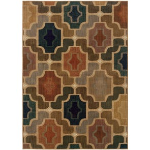 Oriental Weavers Infinity 2179C Geometric Beige and Blue Area Rug