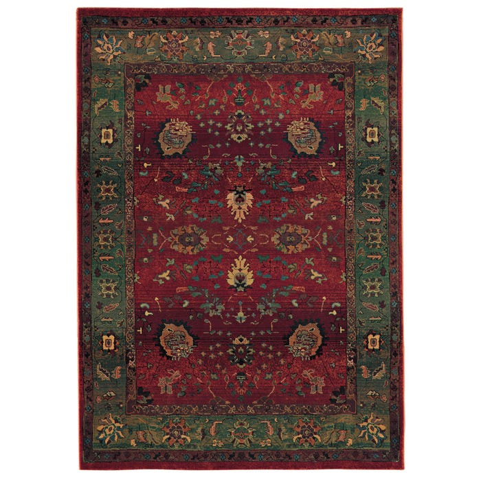 Oriental Weavers Kharma 807c Floral Red And Green Area Rug
