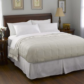 Pacific Coast Feather Satin Trim Down Queen Blanket in Cream