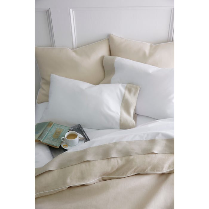Peacock Alley Mandalay Linen Cuff Percale King Pillow Case Pair