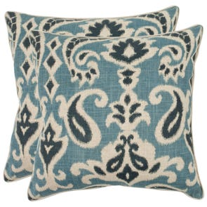 Safavieh Brian 18 Inch Porch Blue Decorative Pillows Set of 2
