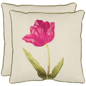 Safavieh Brock 18 Inch Fuchisa Decorative Pillows Set of 2