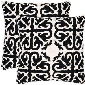 Safavieh Caspar 18 Inch Black Decorative Pillows Set of 2