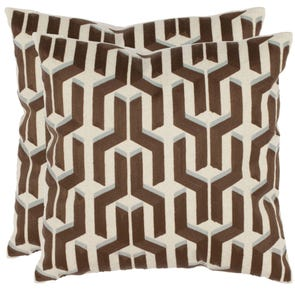 Safavieh Dawson 18 Inch Khaki Decorative Pillows Set of 2