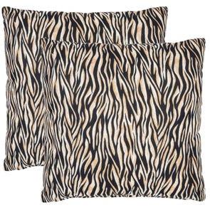Safavieh Drake Zebra 22 Inch Ivory and Black Decorative Pillows Set of 2