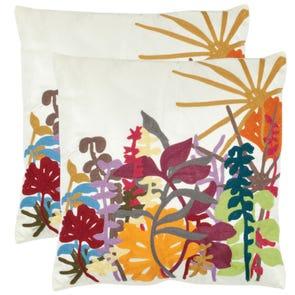 Safavieh Elliott 18 Inch Creme Decorative Pillows Set of 2