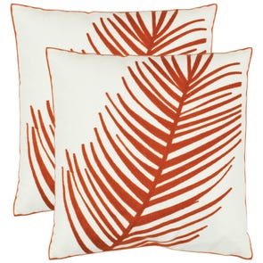 Safavieh Fatima 18 Inch Orange Decorative Pillows Set of 2