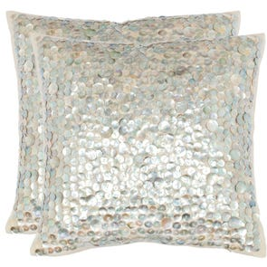 Safavieh Fiona 18 Inch Silver Decorative Pillows Set of 2