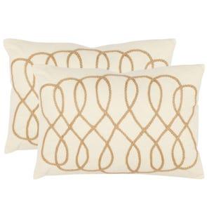 Safavieh Gia White and Wheat Decorative Pillows Set of 2