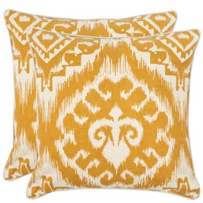 Safavieh Josh 18 Inch Saffron Decorative Pillows Set of 2