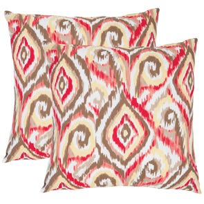 Safavieh Joyce 22 Inch Brown and White Decorative Pillows Set of 2