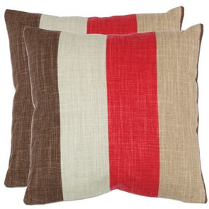 Safavieh Kaydence 18 Inch Red Decorative Pillows Set of 2