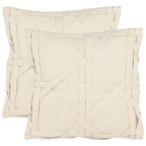 Safavieh Kendra 18 Inch Beige Decorative Pillows Set of 2