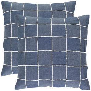 Safavieh Leonardo 18 Inch Denim Blue Decorative Pillows Set of 2