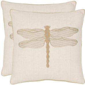 Safavieh Norden 18 Inch Cream and Green Decorative Pillows Set of 2