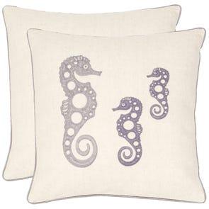 Safavieh Ocean Seahorse 18 Inch Cream and Blue Grey Decorative Pillows Set of 2