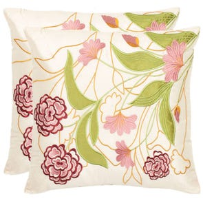 Safavieh Stanley 18 Inch Cream and Pink Decorative Pillows Set of 2