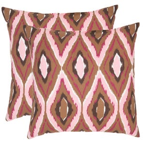 Safavieh Tristan 22 Inch Brown and Pink Decorative Pillows Set of 2