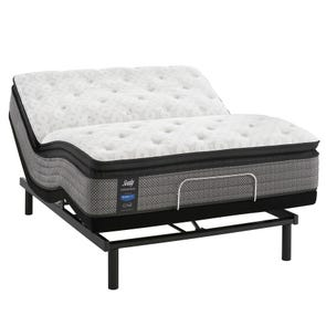 Queen Sealy Posturepedic Response Performance Mountain Ridge IV Cushion Firm Pillow Top 13.5 Inch Mattress with Ease 3.0 Adjustable Base