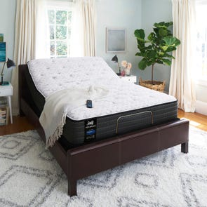 Queen Sealy Posturepedic Response Performance Mountain Ridge IV Firm Mattress with Ease 2.0 Adjustable Base