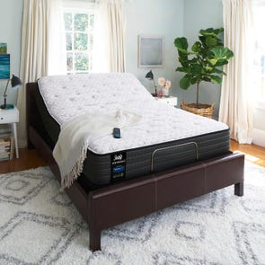Queen Sealy Posturepedic Response Performance Mountain Ridge IV Plush Mattress with Ease 2.0 Adjustable Base