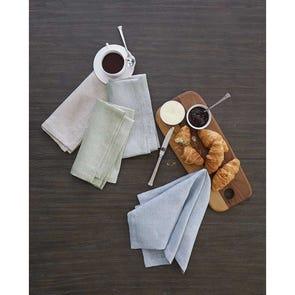 SFERRA Hamiltons Set of 4 Dinner Napkin in White/Moss