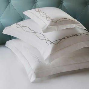 SFERRA Cade Standard Pillowcase in White/Grey