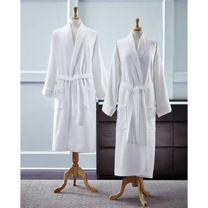 SFERRA Berkley Bath Robe Terry/Waffle Reverse in White