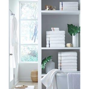 SFERRA Aura Hand Towel in White/Navy