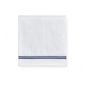 Sferra Aura 60 Inch Bath Towel in White/Dark Blue
