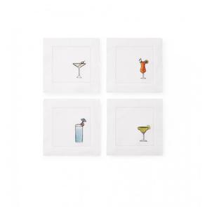 Sferra Bevande Set of Four 6 Inch Cocktail Napkin in White Multi