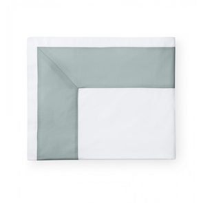 Sferra Casida 114 Inch Full/Queen Flat Sheet in White/Seagreen