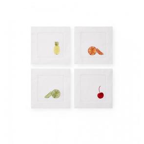 Sferra Frutta Set of Four 6 Inch Cocktail Napkin in White Multi