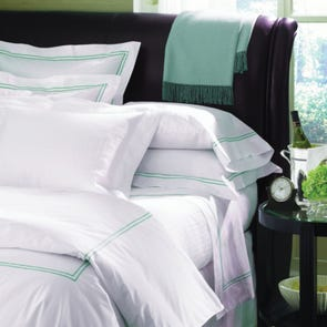 Clearance SFERRA Grande Hotel Full/Queen Flat Sheet White with Navy Stitching OVLB0818042