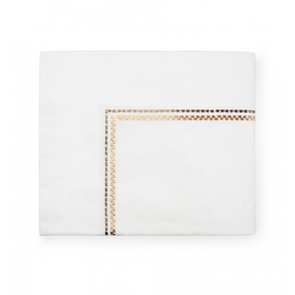 Sferra Intreccio 114 Inch Full/Queen Flat Sheet in White/Gold