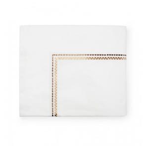 Sferra Intreccio 114 Inch King Flat Sheet in White/Gold