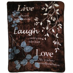 Shavel Hi Pile Oversize Luxury Throw - Live Laugh Love