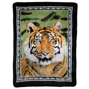Shavel Hi Pile Oversize Luxury Throw - Tiger Portrait