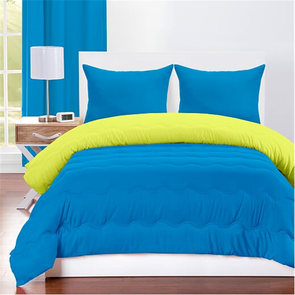 SIS Covers Crayola Full/Queen Reversible Comforter Set in Cerulean and Granny Smith Apple