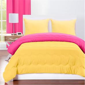 SIS Covers Crayola Full/Queen Reversible Comforter Set in Hot Magenta and Laser Lemon