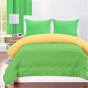 SIS Covers Crayola Full/Queen Reversible Comforter Set in Jungle Green and Laser Lemon