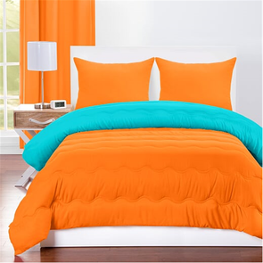 SIS Covers Crayola Full/Queen Reversible Comforter Set in Outrageous Orange and Turquoise Blue