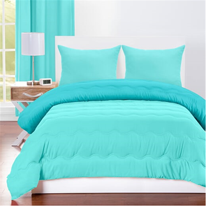 SIS Covers Crayola Full/Queen Reversible Comforter Set in Robin's Egg Blue and Turquoise Blue