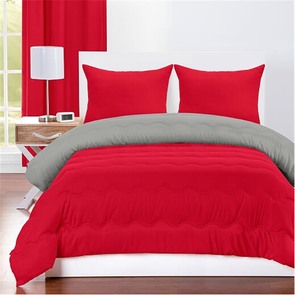 SIS Covers Crayola Full/Queen Reversible Comforter Set in Scarlet and Timberwolf