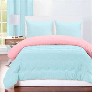 SIS Covers Crayola Full/Queen Reversible Comforter Set in Sky Blue and Tickle Me Pink