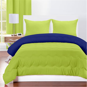 SIS Covers Crayola Full/Queen Reversible Comforter Set in Spring Green and Blue Berry Blue